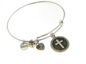 Designer Inspired Dangling Cross Charm Bangle Bracelet