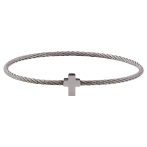 "7.5"" Inox Stainless Steel Cable Bangle Bracelet with Cross"