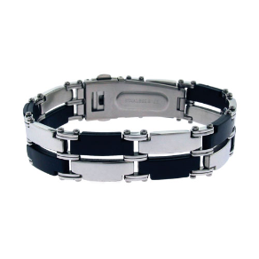 "9"" Stainless Steel  and Black Rubber Link Bracelet"