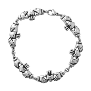 "7+1.5"" Stainless Steel Claddagh Link Bracelet from Inox"