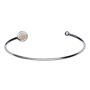 "7.5"" Stainless Steel and Synthetic Pink Opal Open Cuff Bracelet"