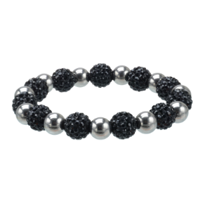 Stretchable 316L Stainless Steel and Pave Jet Black Crystal Bracelet