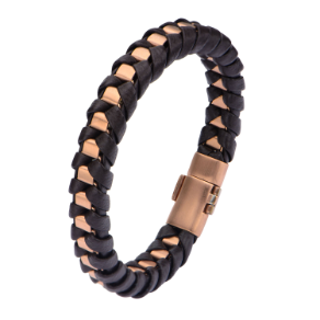 "8.5"" Ip Matte Rose Gold Steel Bracelet with Black Leather"