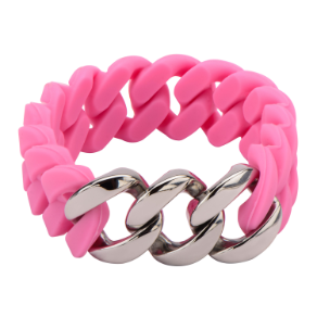 Inox Pink Silicone and Stainless Steel Stretch Curb Chain Bracelet
