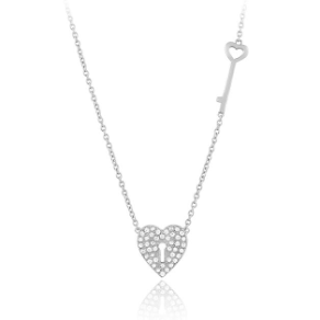 "16+2"" Sterling Silver Heart Shaped CZ  Lock and Key Necklace"