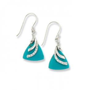 Sterling Silver, Imitation Turquoise, and CZ Earrings