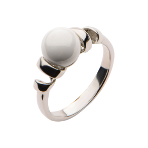 Sterling Silver and White Ceramic Ring