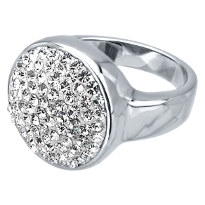 Sterling Silver Plated Stainless Steel Ferido Crystal Ring