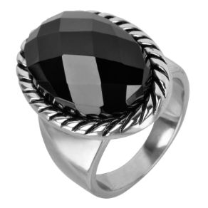 Inox Stainless Steel and Black Agate Women's Ring