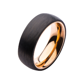 Solid Carbon Fiber and Rose Gold Ip 316L Stainless Steel Ring