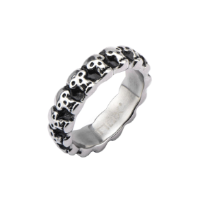 Inox Black Oxidized Stainless Steel Multi Skull Band Ring