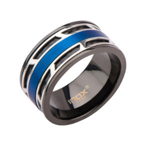 Ip Black Steel Ring with Middle Row of Ip Blue Steel & Black Cable