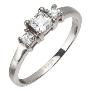 Inox Stainless Steel 3 Stone CZ Engagement Ring