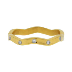 Inox Stainless Steel CZ Stackable Ring in PVD Gold