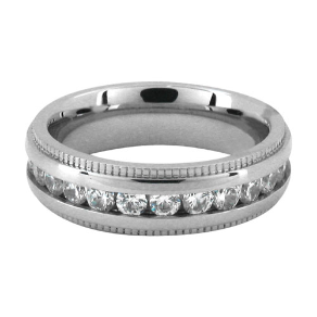 Stainless Steel and CZ His and Hers Wedding Ring from Inox