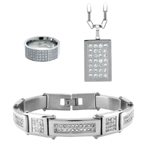 Stainless Steel and CZ Set