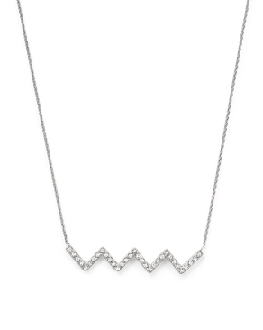 "15+2"" Sterling Silver and CZ Chevron Necklace"