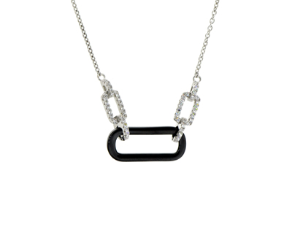 "16+2"" Sterling Silver, Black Ceramic, and CZ  Necklace"