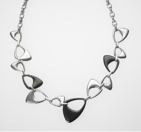 "Adj. 19"" Steelx Stainless Steel and PVD Black Necklace"