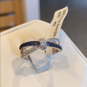 Sterling Silver Sapphire and Clear CZ Ring