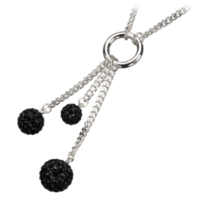 "18+2"" Sterling Silver Plated Stainless Steel Ferido Black Ball Necklace"