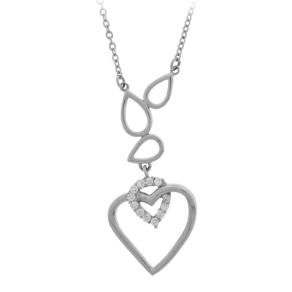 "18.5"" + 1.5"" Ext Inox Stainless Steel and CZ Heart Necklace"