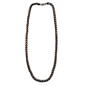 "24"" Inox Stainless Steel Black and Brown Wheat Chain"