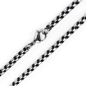 3MM Inox Oxidized Stainless Steel Bold Box Chain in 3 Lengths