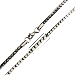 Black Oxidized Stainless Steel Alternate Curb Link Chain in 3 Lengths