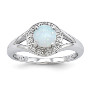 Sterling Silver, Diamond, and Lab Created Opal Halo Ring