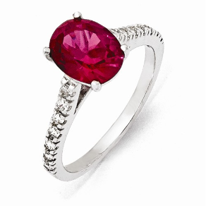 Sterling Silver and Synthetic Ruby & CZ Ring