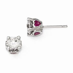 Cheryl M Sterling Silver CZ and Synthetic Ruby Heart Earrings