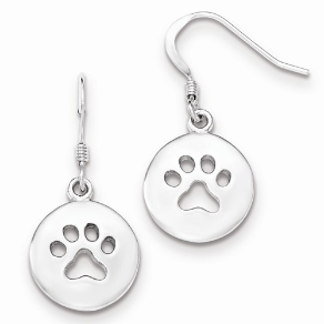 Sterling Silver Cut-out Paw Print Earrings