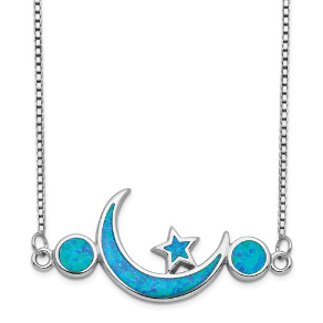 "19"" Sterling Silver and Man Made Opal Moon and Star Necklace"