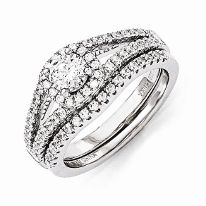 Sterling Silver 2 Piece Wedding / Engagement Ring Set