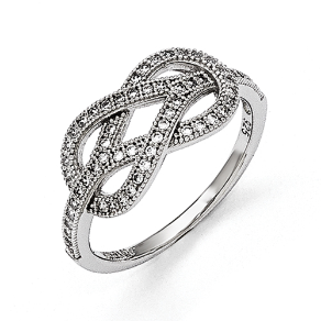 Sterling Silver and CZ Love Knot Ring