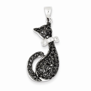 Sterling Silver Black CZ Cat with a White CZ Bow Pendant