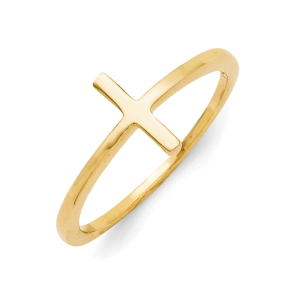 Sterling Silver Gold Vermeil Sideways Cross Ring