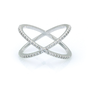 "Designer Inspired Rhodium Plated  CZ ""X"" Ring"