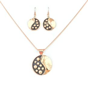 Pendant, Earrings, & Chain in Rose Gold and  Black Copper