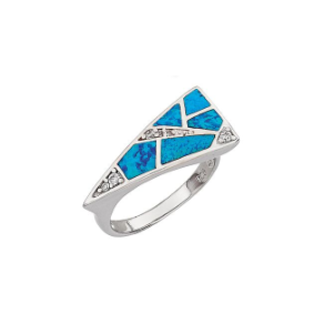 Sterling Silver and Simulated Blue Opal Ring with CZs