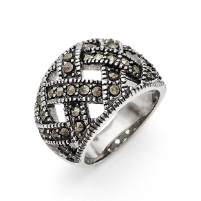 Chisel Stainless Steel Textured Marcasite Ring