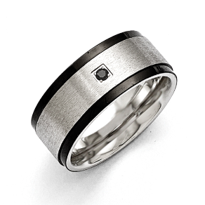 9mm Chisel Brushed Stainless Steel Ring w/ Black Ip Bands & Black CZ
