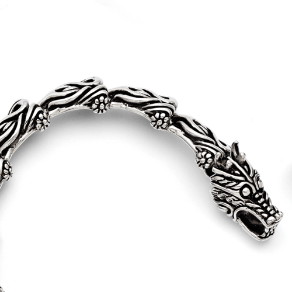 "8.25"" Chisel Stainless Steel Antiqued Dragon Bracelet"