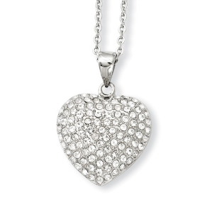 Stainless Steel and CZ Heart Pendant