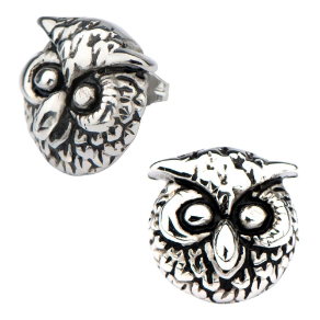 Stainless Steel Owl Earrings with Antique Finish