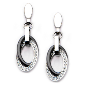 Stainless Steel, Black Ceramic, and CZ Double Oval Dangling Earrings