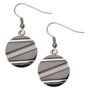 Inox Stainless Steel PVD Black Circle Earrings with CZS