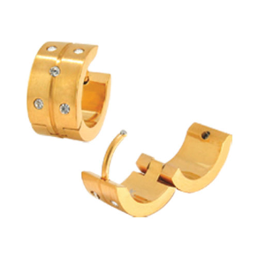 PVD Gold Stainless Steel Huggie (Hinged Hoop) Earrings with CZs