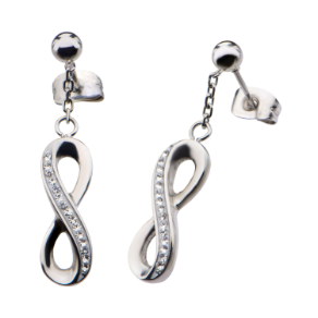 Inox Stainless Steel Dangling Infinity Earrings with Crystals